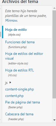hoja de estilo wordpress